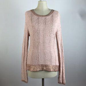 Anthropologie Moth Rose Gold Trim Knit Sweater